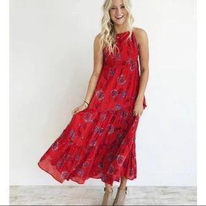 Intimately Free people red combo maxi dress(xs)